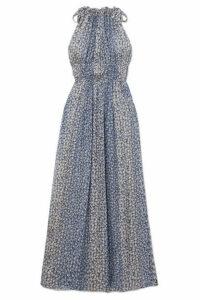 Ulla Johnson - Augustine Floral-print Plissé Silk-blend Gauze Maxi Dress - Blue