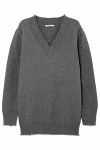 alexanderwang.t - Distressed Cotton-blend Sweater - Gray