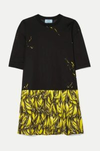 Prada - Pleated Printed Crepe De Chine Mini Dress - Black
