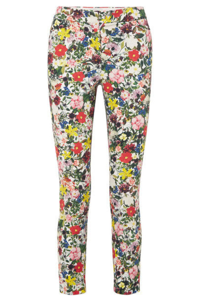 Erdem - Sidney Floral-print Stretch-cotton Slim-leg Pants - Yellow
