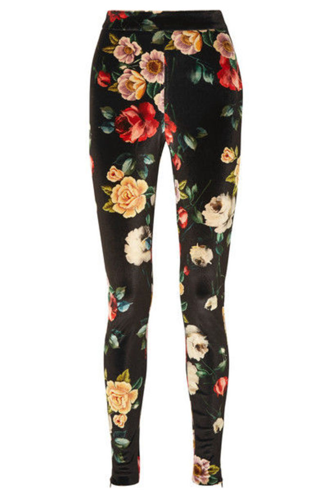 Attico - Floral-print Stretch-velvet Leggings - Black