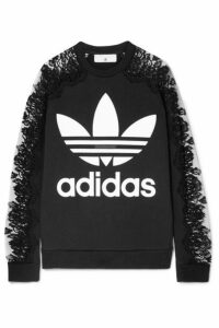 Stella McCartney - + Adidas Lace-paneled Printed Cotton-jersey Sweatshirt - Black