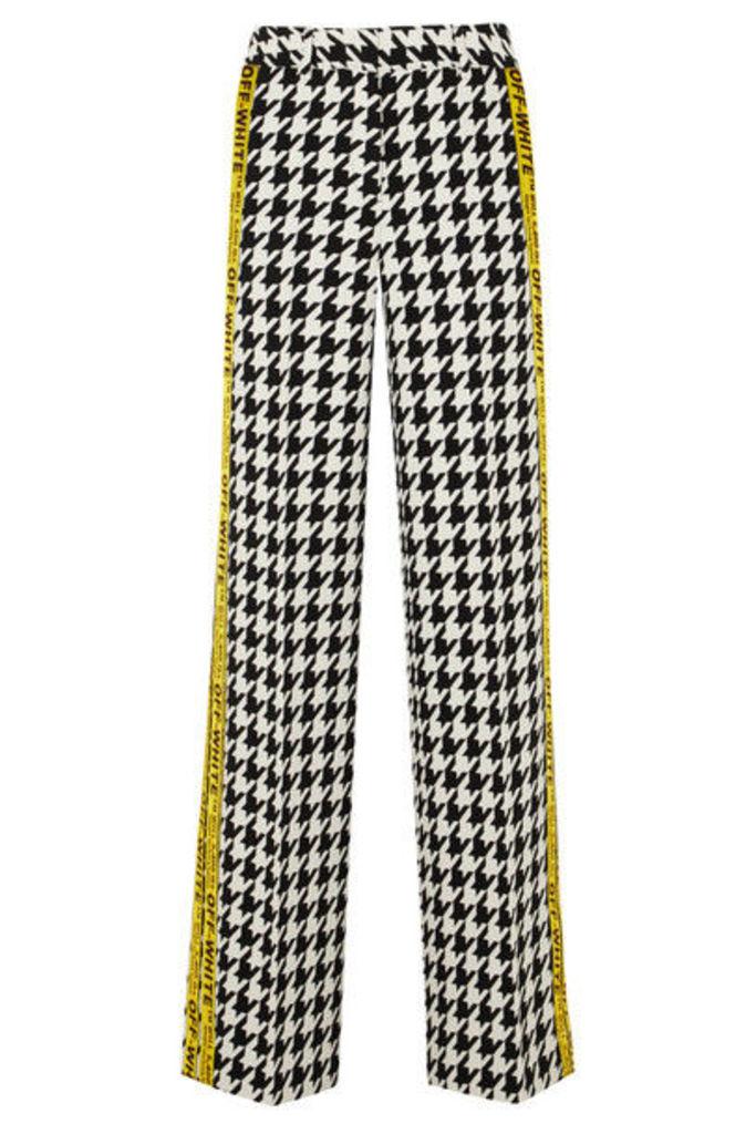 Off-White - Appliquéd Houndstooth Wool-blend Wide-leg Pants - Black