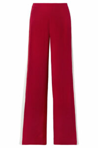 Adam Lippes - Striped Silk-crepe Wide-leg Pants - Red