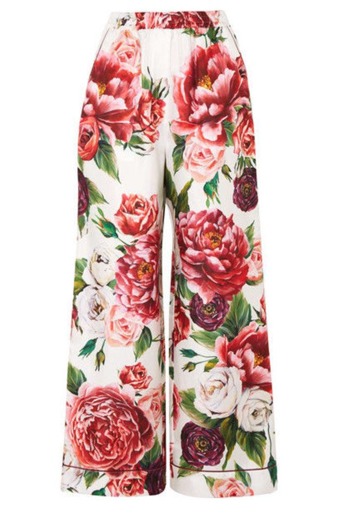 Dolce & Gabbana - Floral-print Silk-twill Wide-leg Pants - Pink