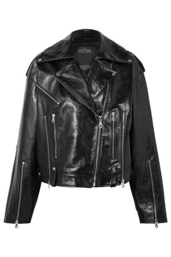 Rokh - Oversized Glossed-leather Biker Jacket - Black