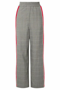 CALVIN KLEIN 205W39NYC - Striped Prince Of Wales Checked Wool Straight-leg Pants - Gray