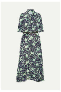 Prada - Asymmetric Floral-print Stretch-silk Midi Dress - Navy