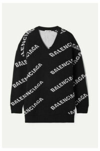 Balenciaga - Oversized Intarsia Wool-blend Sweater - Black