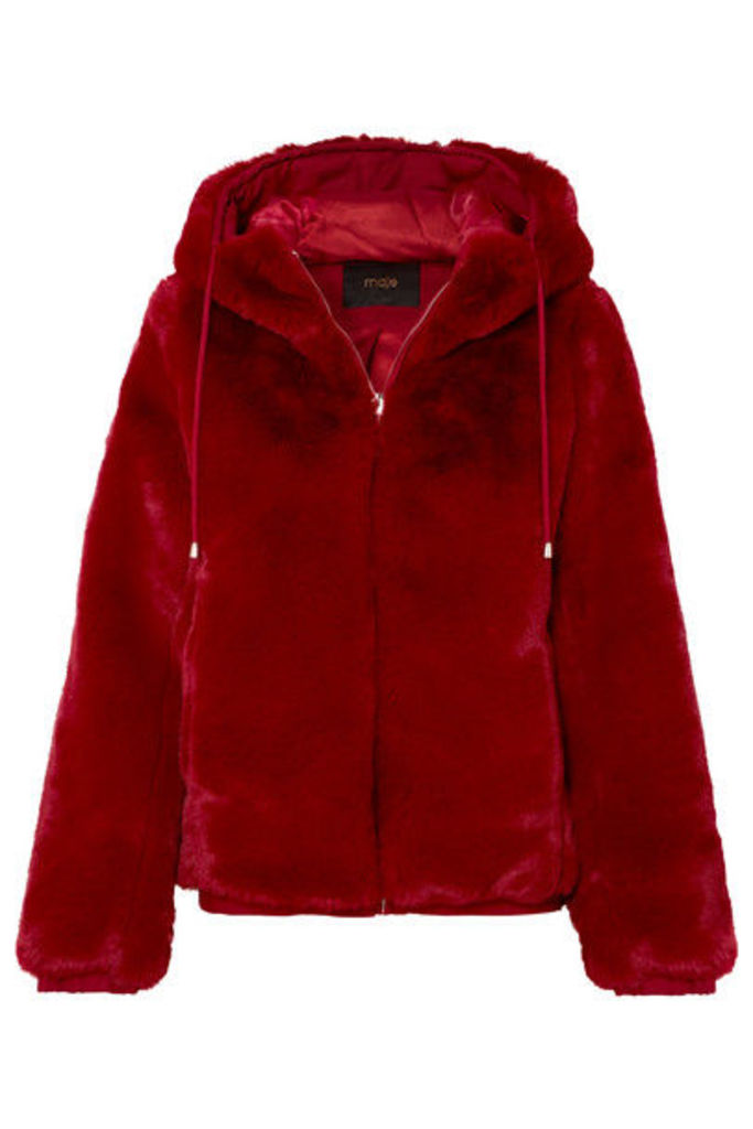 Maje - Hooded Faux Fur Jacket - Red