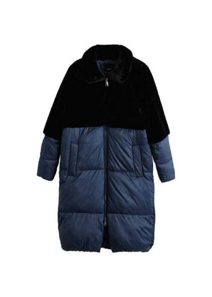 Faux-fur quilted coat