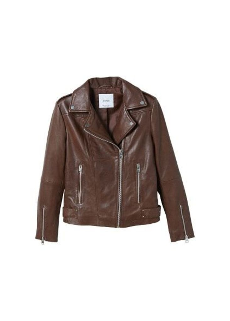 Zipper leather biker jacket