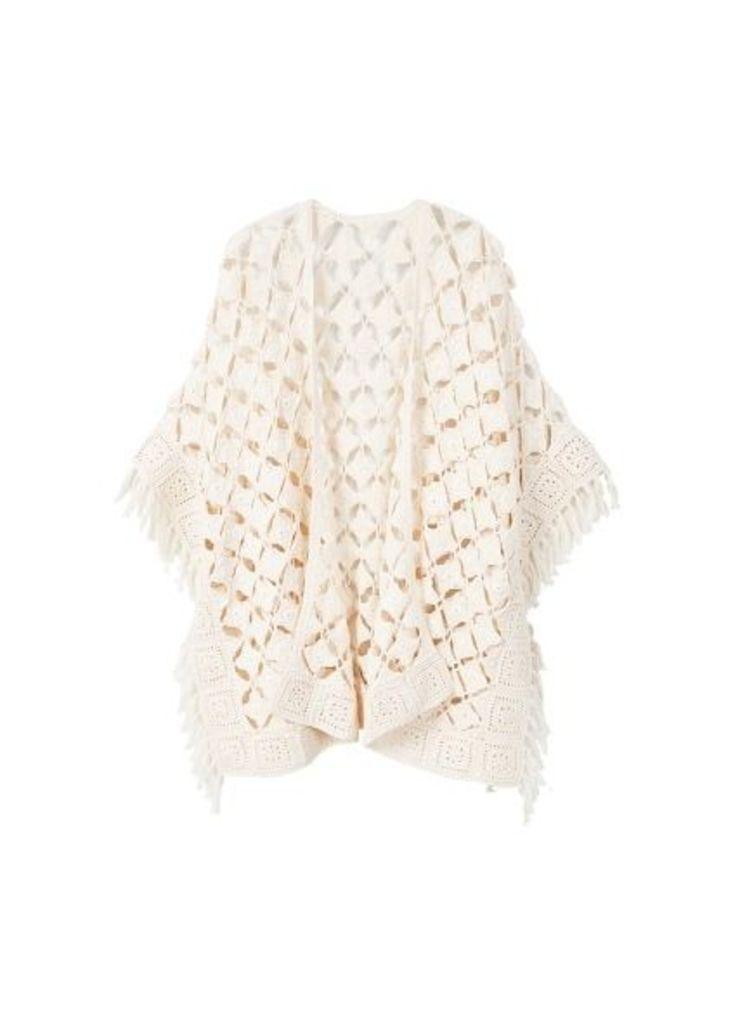 Fringed cotton cape
