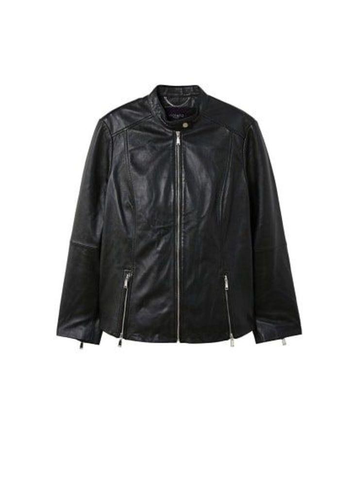 Zip leather jacket