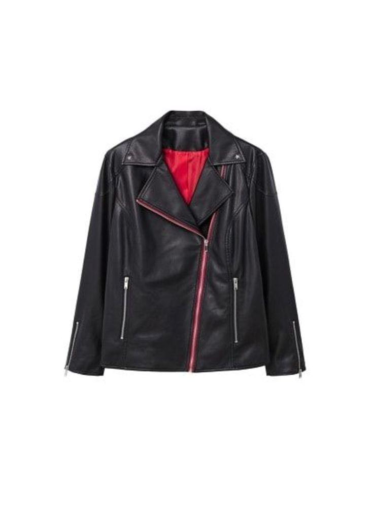 Contrasting biker jacket