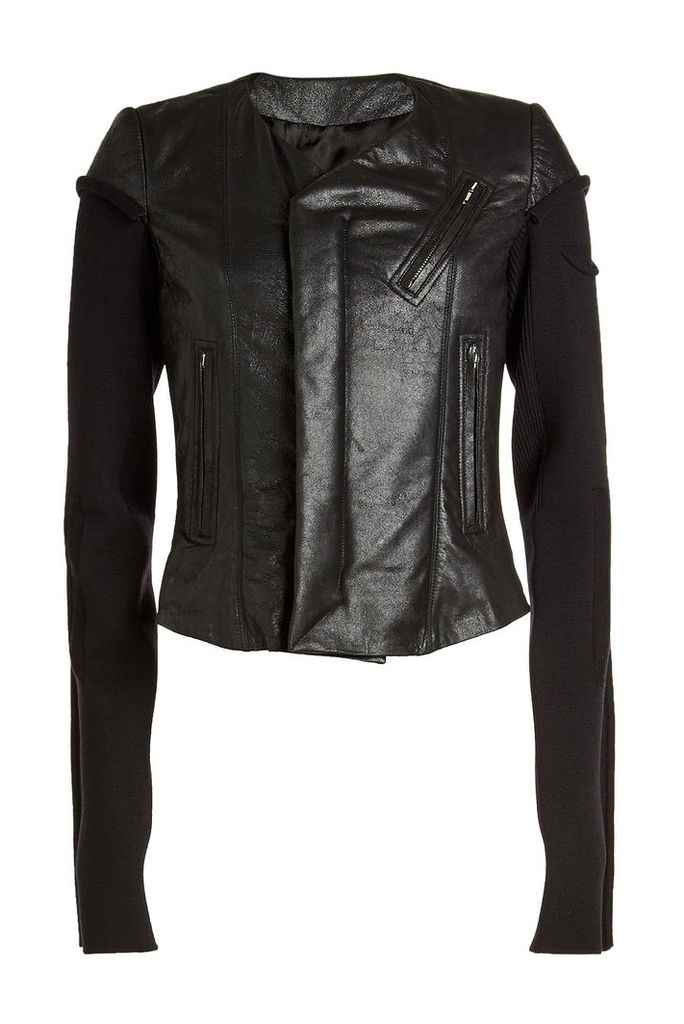Rick Owens Leather Biker Jacket with Jersey Sleeves