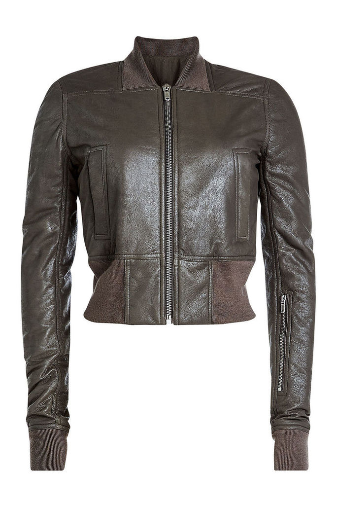 Rick Owens Leather Jacket with Jersey