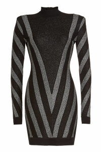 Balmain Metallic Knit Mini Dress with Wool