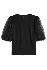RED Valentino Top with Point d'esprit Tulle Sleeves