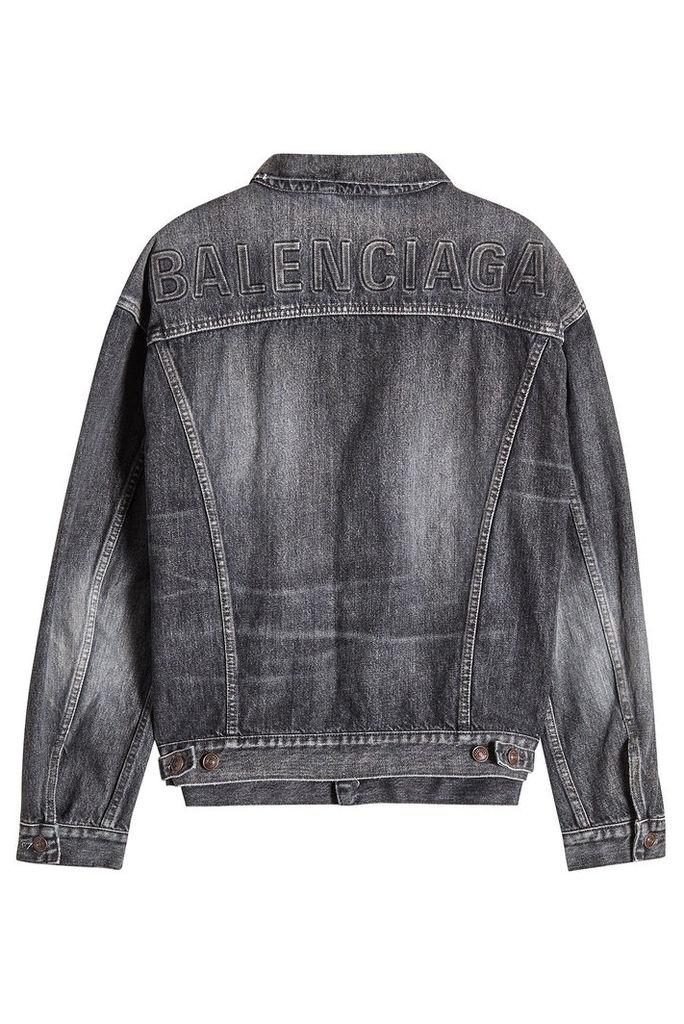 Balenciaga Logo Embossed Denim Jacket