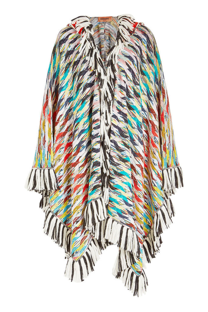 Missoni Fringed Wool Cape with Cashmere, Alpaca and Mohair