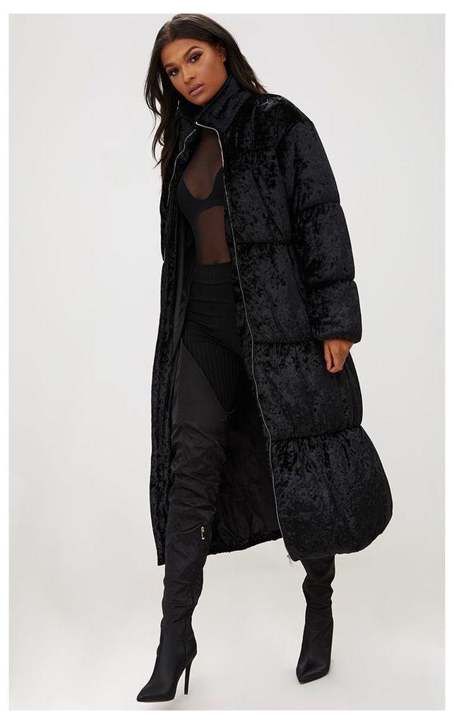 Black Velvet Longline Puffer Coat, Black