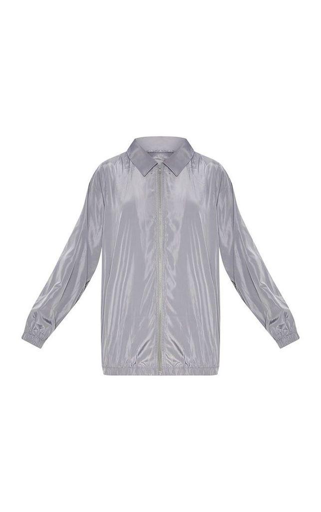 Grey Oversized Shell Suit Jacket, Grey