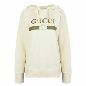 Gucci Embroidered Fake Logo Hooded Sweatshirt