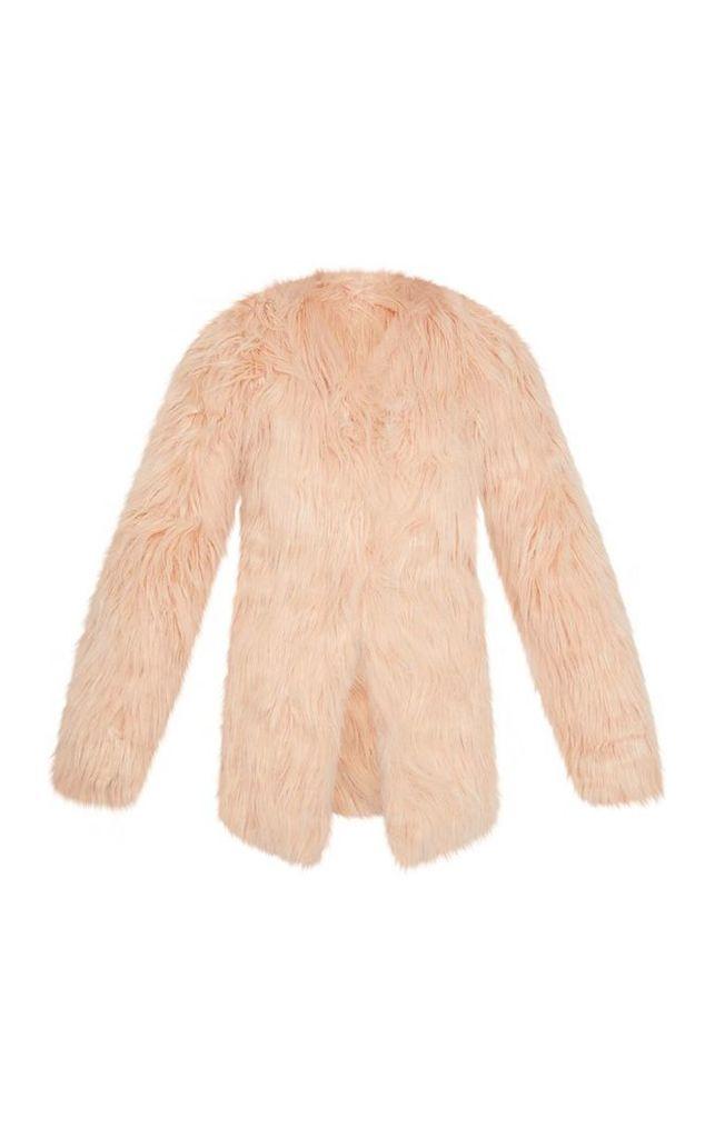 Amaria Nude Shaggy Faux Fur Jacket, Pink