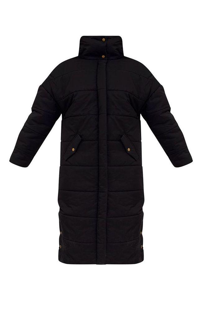Premium Black Longline Puffer Jacket, Black