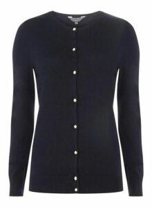 Womens **Tall Navy Jewel-Button Cardigan- Blue, Blue