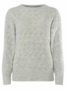 Womens **Tall Grey Textured Jumper- Grey, Grey