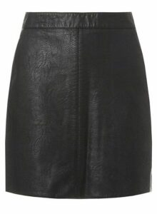 Womens Black Faux-Leather Mini A-Line Skirt- Black, Black