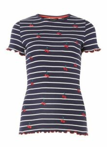Womens Trees For Cities Navy Striped Cherry T-Shirt - Blue, Blue