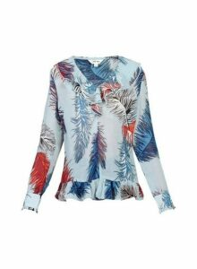 Womens *Jolie Moi Blue Multi Frill Blouse, Blue