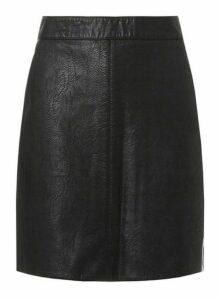 Womens **Tall Black Faux-Leather Mini Skirt, Black