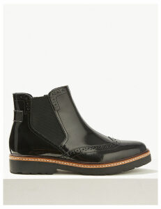 M&S Collection Wide Fit Leather Chelsea Brogue Boots