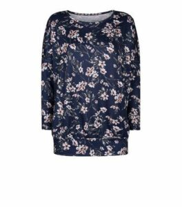 Mela Navy Floral Fine Knit Sweatshirt New Look