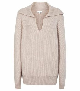 Reiss Porta - Ribbed Over Sized Jumper in Neutral, Womens, Size XXL