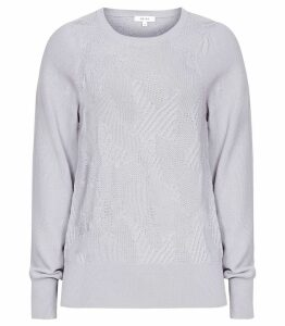 Reiss Bonita - Textured Flute Sleeve Jumper in Soft Grey, Womens, Size XXL