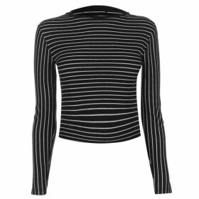 Firetrap Blackseal Long Sleeve Striped T Shirt - Black/White