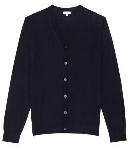 Reiss Hampstead - Merino Wool Cardigan in Navy, Mens, Size XXL