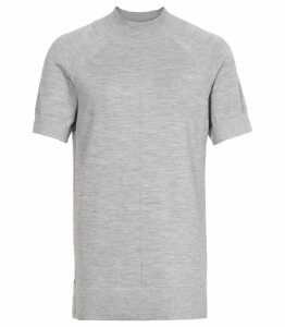 Reiss Venus - Metallic High Neck Top in Grey, Womens, Size XXL