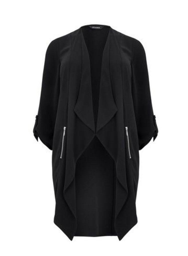 Black Longline Jacket, Black