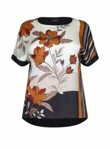 **Live Unlimited Multicoloured Floral Print Top, Black