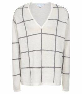 Reiss Alegria - Checked Jumper in White/grey, Womens, Size XXL