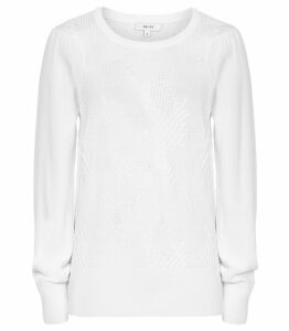Reiss Bonita - Textured Flute Sleeve Jumper in Off White, Womens, Size XXL
