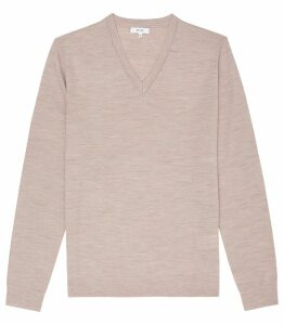 Reiss Earl - Merino Wool Jumper in Taupe, Mens, Size XXL