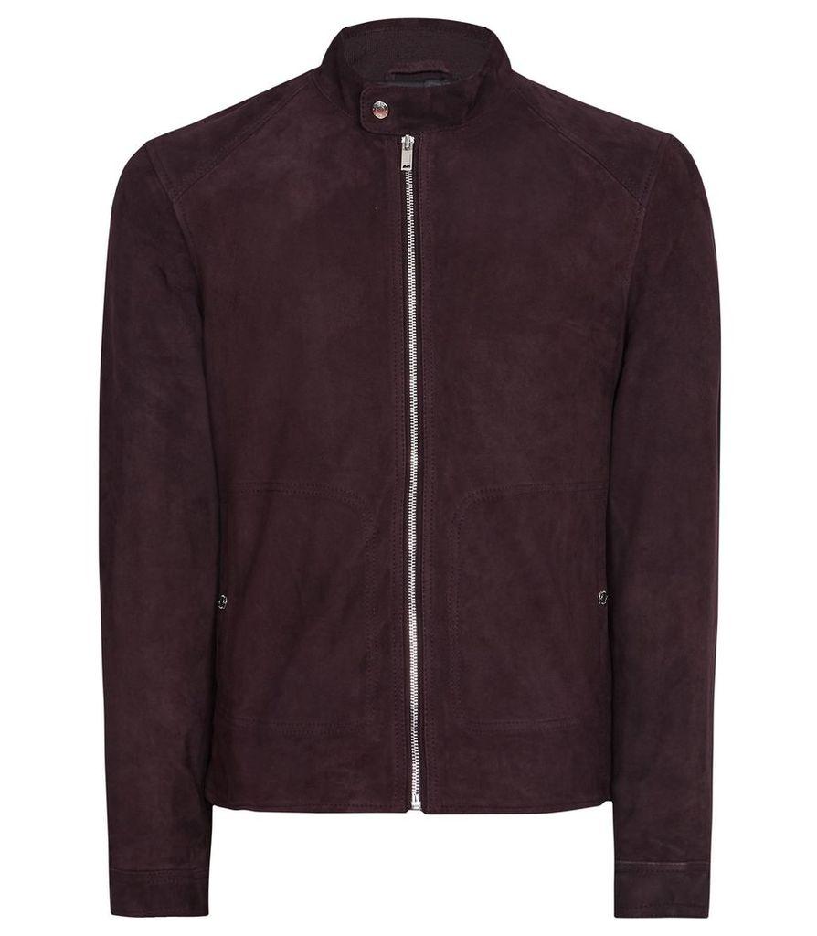 Reiss Jacob - Suede Jacket in Bordeaux, Mens, Size XXL