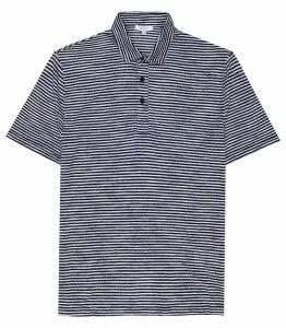 Reiss Hallam - Linen Blend Polo Shirt in Navy, Mens, Size XXL